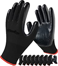 Work Gloves, 8-Pair Pack, Gardening Gloves Dipped with Firm Grip Nitrile Rubber Coating for Men and Women, Breathable Comf...