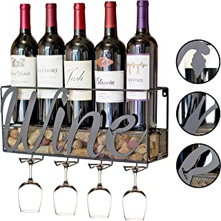 MKZ Products Wall Mounted Wine Rack | Wine Bottle Holder| Hanging Stemware Glass Holder | Cork Storage | Storage Rack | Home & Kitchen Decor (Wine)