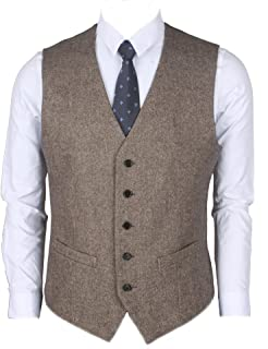 Ruth&Boaz 2Pockets 5Buttons Wool Herringbone Tweed Business Suit Vest