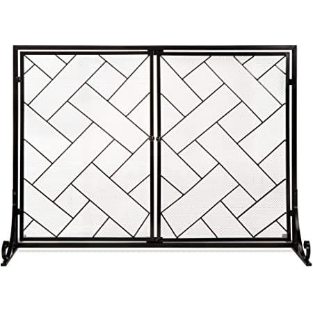 Wrought Iron Mesh Fireplace Cover Freestanding Fireplace Accessories Fireplace Screen Vertical Grid 39 x 31 Fireplace Screens Decorative Indoor Outdoor Fire Place for Living Room Firewood