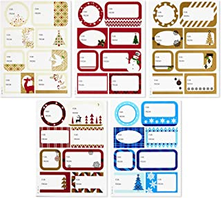 Hallmark Holiday Gift Tag Stickers (80 Labels; Elegant) Red, Gold, Blue