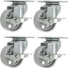4 All Steel Swivel Plate Caster Wheels w Brake Lock Heavy Duty High-gauge Steel Gray (4