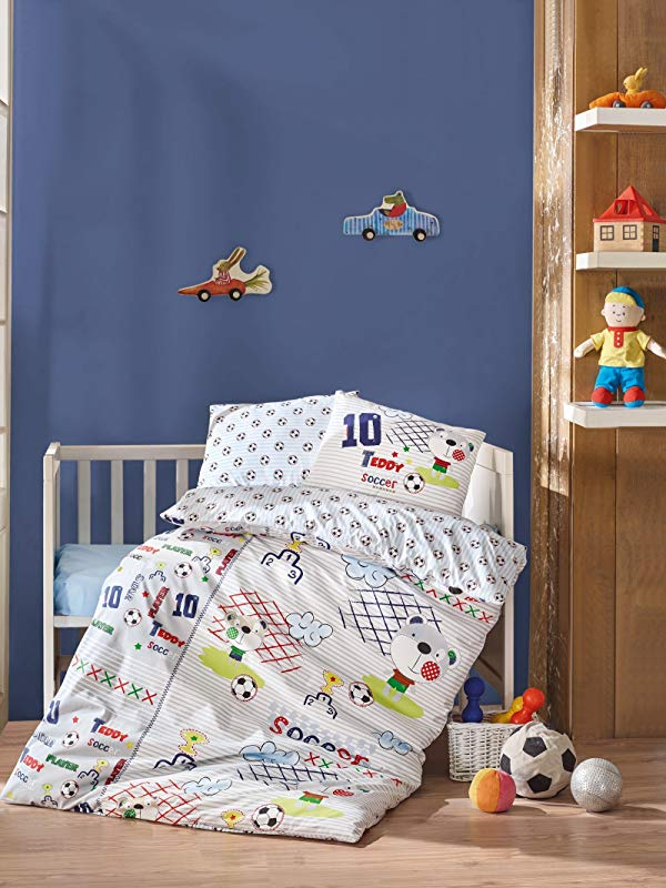 Bekata Teddy Soccer 100 Cotton Baby Boys Crib Bedding Baby Duvet Cover Set Made In Turkey 4 Pieces
