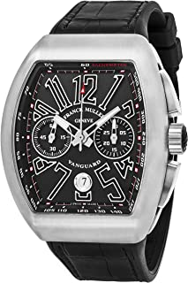 Vanguard Mens Black Face Automatic Chronograph Date Black Rubber Strap Swiss Watch V 45 CC DT AC BR NR