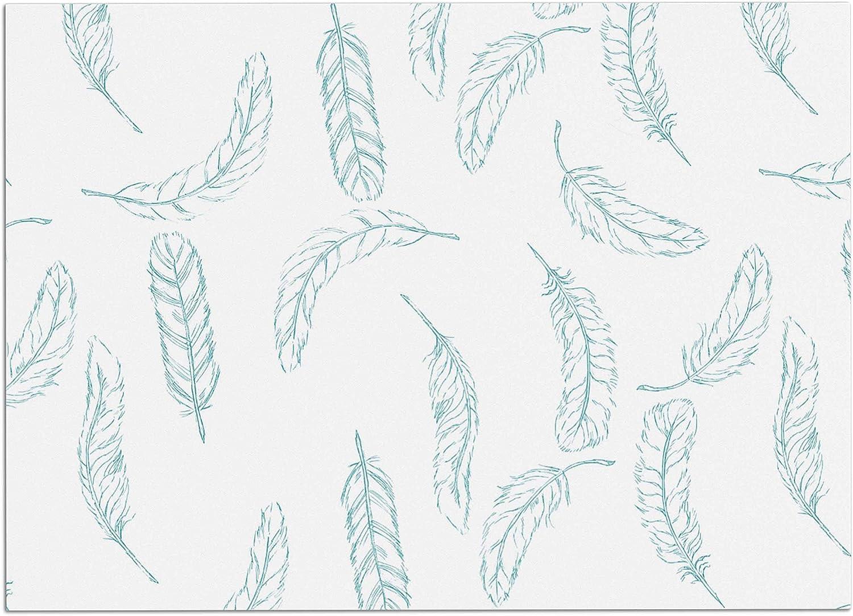 KESS InHouse JR1019ADM02 Jennifer Rizzo Floating Feathers Aqua bluee White Dog Place Mat, 24  x 15