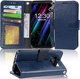 Arae Case Compatible for Samsung Galaxy S8, [Wrist Strap] Flip Folio [Kickstand Feature] PU Leather Wallet case with ID&Credit Card Pockets [Not for Galaxy S8 Plus] (Navy Blue)