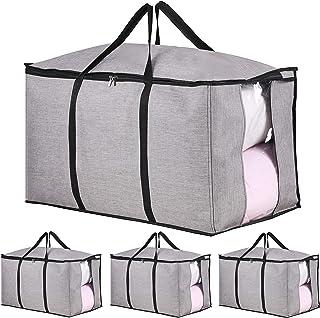 Lot de 4 sacs de déménagement extra larges et résistants avec fermetures Éclair solides pour voyage, dortoir, camping