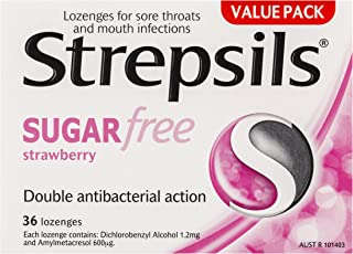 Strepsils Sugar Free Throat Lozenges Strawberry Pain Relief (Count of 36)