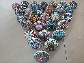 Knobsworld Knopset, handgemaakt, mandala-design, kleurrijk, keramiek en metaal, 20 stuks