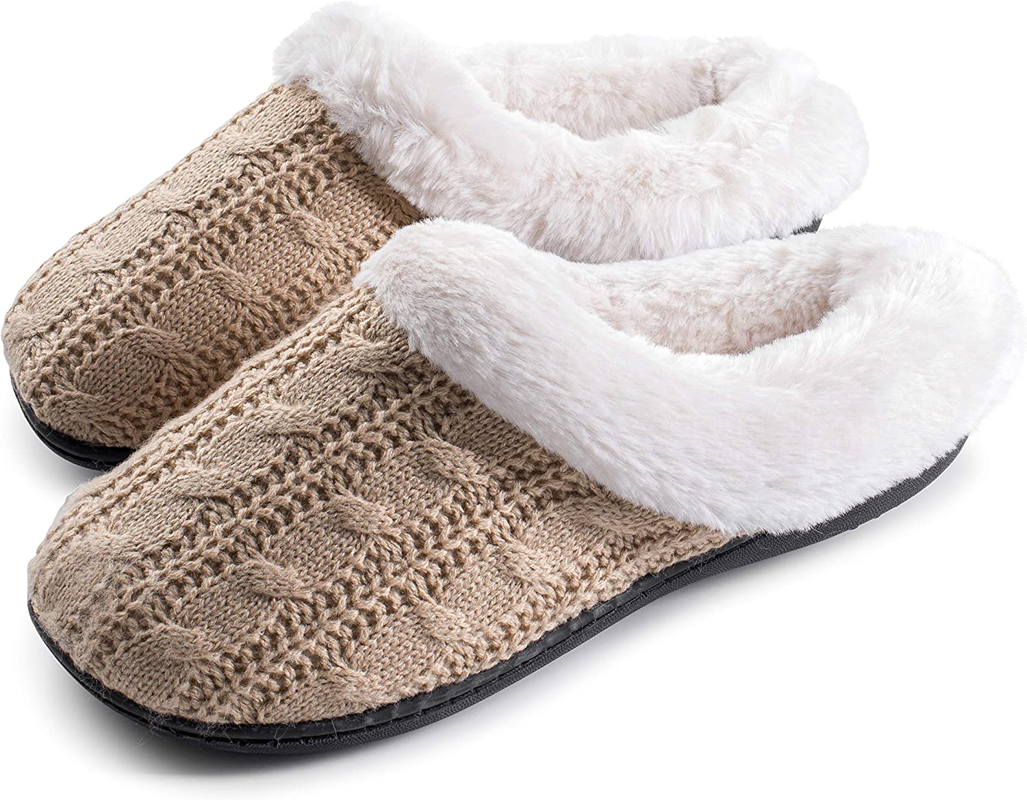 Joan vass Women's Cabled Knit Sweater Clog Winter Bedroom Slippers Super Cozy and Comfort