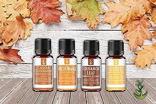 Autumn Bliss Essential Oil Gift Set (4 Piece), Includes 15 ml Bottles of Orange, Clove, Cassia, Cinnamon Leaf Oil