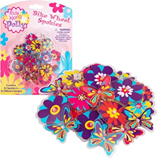 Bike Wheel Spokes - Ride Along Dolly Colorful Flower and Butterfly Bicycle Spokes Attachments- Cute Bike Accessories for Kids (24 Pcs, 12 Different Designs)