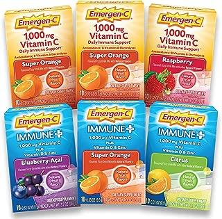 Emergen-C Vitamin C (1000mg), Immune+ (with Vitamin D) Powder Multi-Flavor Variety Pack (6 x 10 Counts), Drink Mix with B Vitamins, Antioxidants & Electrolytes, 0.33 oz Packets, Caffeine Free