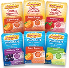Emergen-C Vitamin C (1000mg), Immune+ (with Vitamin D) Powder Multi-Flavor Variety Pack (6 x 10 Counts), Drink Mix with B Vitamins, Antioxidants & Electrolytes, 0.33 oz Packets, Caffeine Free