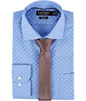 LAUREN Ralph Lauren Slim Fit Non Iron Mini Paisley Poplin Plaid Spread Collar Dress Shirt