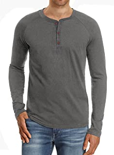 532d539f39d9 NITAGUT Mens Fashion Casual Front Placket Basic Long Short Sleeve Henley T- Shirts