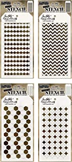 4 Tim Holtz Mixed Media Layered Stencils Set | Shifter Designs: Chevron, Scallop, Hex, Burst | Templates for Arts, Card Making, Journaling, Scrapbooking | by Stampers Anonymous