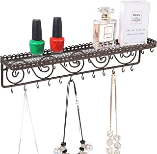 MyGift Wall Mounted Metal Jewelry & Cosmetics Display Shelf with 25 Necklace Hooks and Scrollwork Design