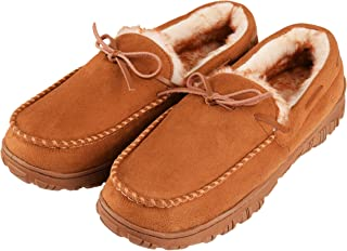 CareBey Mens Indoor Outdoor Moccasin Slippers Light Brown US 14 M