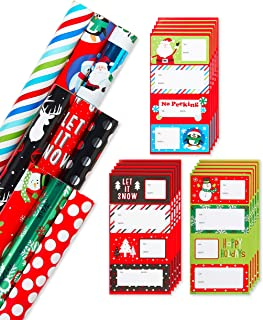 American Greetings Foil Christmas Wrapping Paper with Gridlines and Gift Tags, Variety Set (69-Count, 225  sq. ft.)