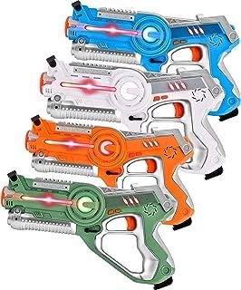 Rainbrace Laser Tag Guns 4 Pack, Multiplayer Laser Tag Gun Toys for Kids, Infrared Laser Tag Sets with Gun for Boys Girls