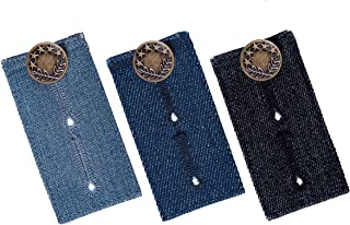 Waistband Extenders by Johnson & Smith | Button Extender for Pants | Denim Material | Pack of 3 Shades | Premium Metal Buttons | 2 Button Holes | Button Extender for Jeans