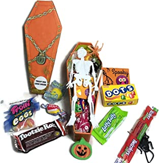 Happy Halloween ~ Fun Coffin Shaped Treat Boxes ~ Filled with Fun Favors and Assorted Treats (4 oz)