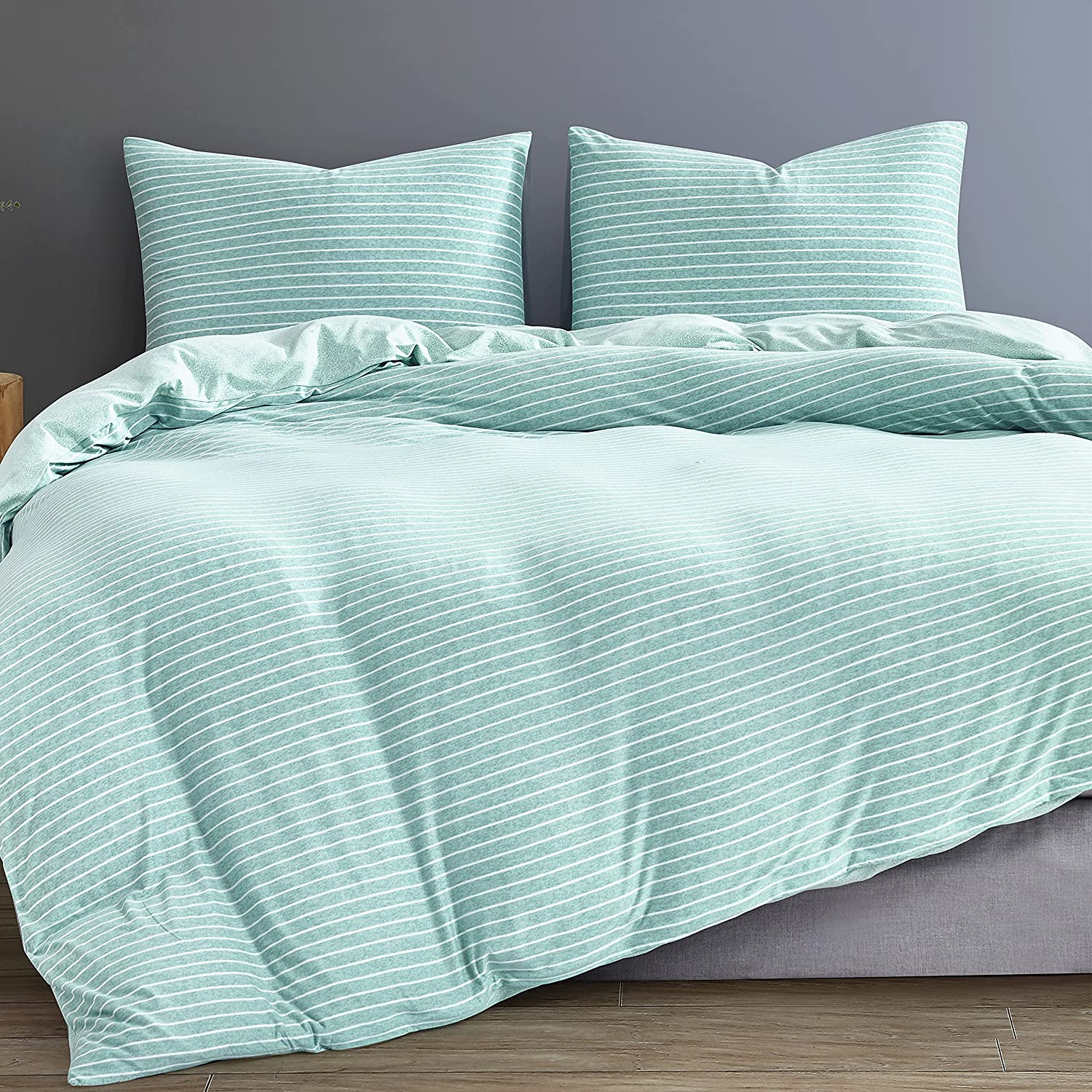 MELINGO Max 63% OFF Queen Duvet Cover Striped 3 Knit Pieces Max 73% OFF Jersey Zip with
