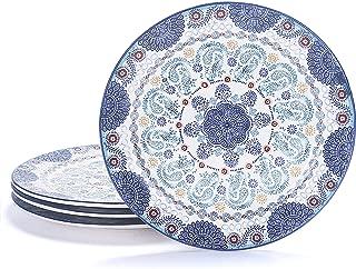 Bico Blue Talavera Ceramic 11 inch Dinner Plates Set of 4, for Pasta, Salad, Maincourse, Microwave & Dishwasher Safe