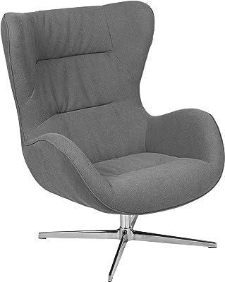 Flash Furniture Gray Fabric Swivel Wing Chair