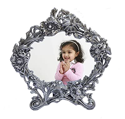 eCraftIndia Antique White Metal Photo Frame (9.5 x 0.5 x 10 inches)