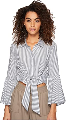 Penka Boyfriend Stripe Bell Sleeve Button Up Top