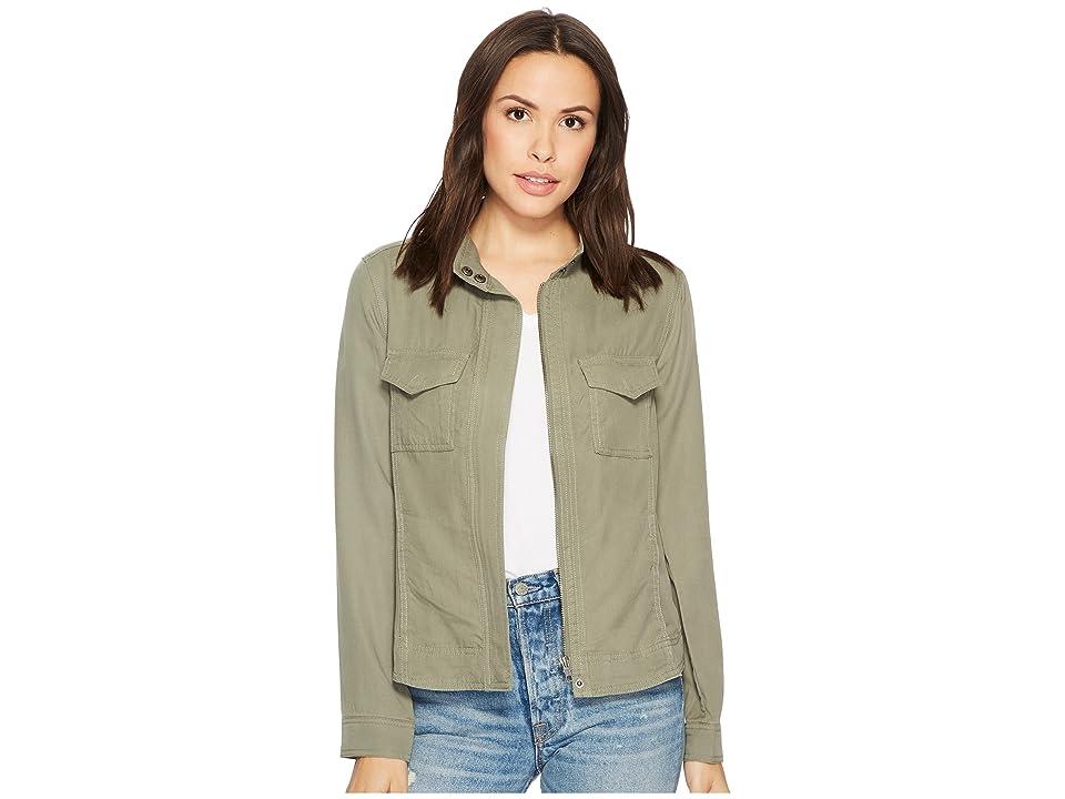 Liverpool Anorak Shirt Jacket in Textured Tencel (Shadow Green) Women