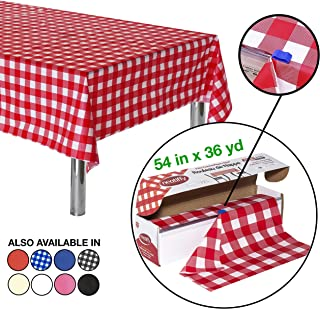Neatiffy 54 Inch x 108 Feet Disposable Plastic Table Cloth Roll, Equals To 12 Picnic Pack (Red Checkered)
