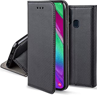 Moozy Flip Fodral för Samsung A40 Svart Skal Korthållare - Smart Magnetiskt Skyddande Flipfodral Klassiskt Telefonskal Fli...