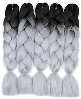Two Tone Ombre Gray Synthetic Jumbo Braiding Hair Extensions 5 Bundles/Lot 100g/pc Fiber Braiding Hair for Twist 24