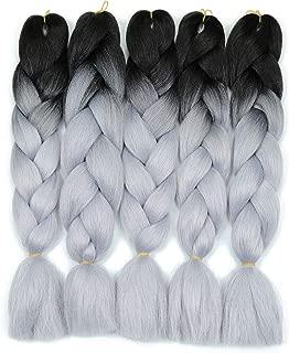 Two Tone Ombre Jumbo Braiding Hair Extension 5Pcs/Lot 100g/pc Kanekalon Fiber for Twist Braiding Hair (1B-Silver gray)