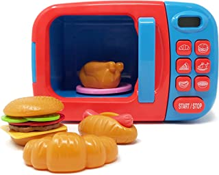 Boley Microwave Kitchen Play Set with Pretend Play Fake Food - Great for Toddlers Ages 3 and Older - Educational Battery Powered Playset with Lights and Sounds - Blue