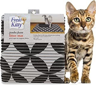 Fresh Kitty Soft Jumbo Foam Easy Clean Litter Trapping Mat for Pet Cat Litter Box, Grey & Black