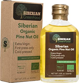 Organic Pine Nut Oil from Siberia 100ml/3.5fl.oz - Certified Organic, Superior Grade, First Cold Pressed,100% Extra Virgin by Siberian Green Food