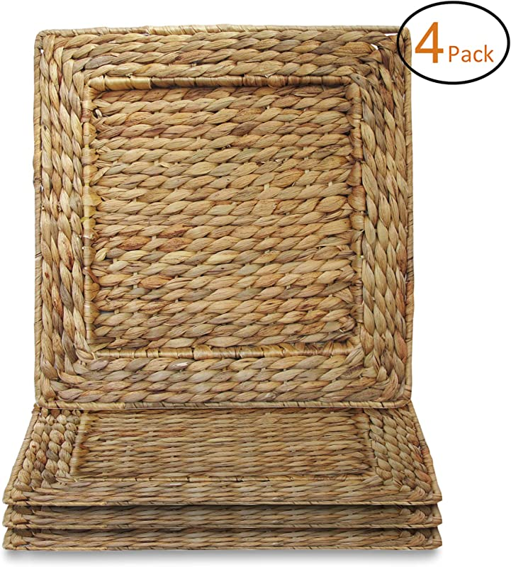 ChargeIt By Jay 1660161 4 Water Hyacinth Set Of 4 Square Rattan Charger Plates 13 7x13 7 Brown