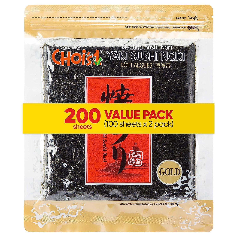 Daechun(Choi's1) Roasted Seaweed, GIM (100+100 Full Sheets), Value Pack, Resealable, Gold Grade, Product of Korea