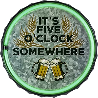 American Art Decor It's 5 O'Clock Somewhere Bottle Cap Shaped LED Light Rope Sign That Looks Like Neon! Wall Decor for Bar, Garage, or Man Cave (12