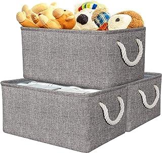 Boîte de Rangement en Tissu Gris pour Chambre à Coucher, Grand Panier de Rangement 3 Pièces avec Poignées, Paniers de Rang...