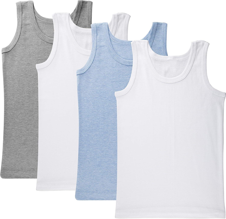 Brix Boys' Cotton Tank Top - Tagless Undershirts Super Soft 4-Pack Tees Sizes 2-14.
