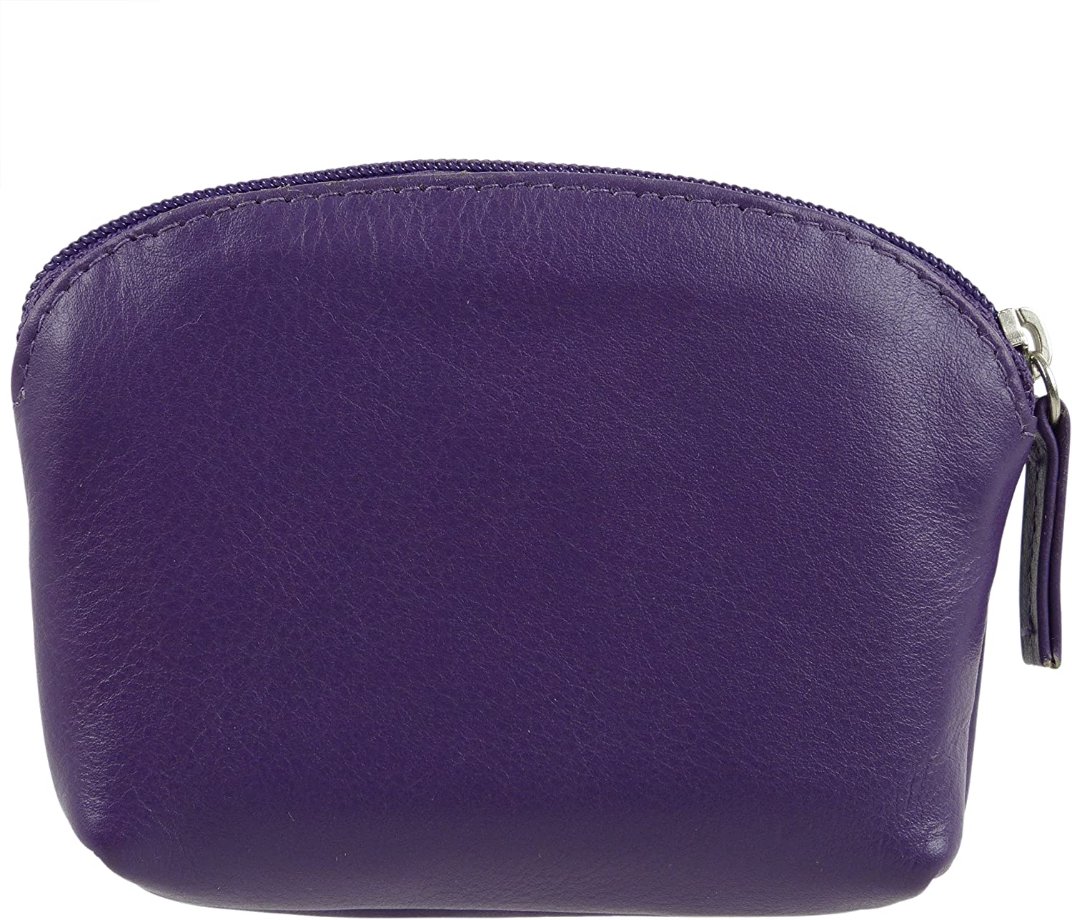 Ladies Leather Coin Purse with Integral Key Fob by Golunski Blue Or Purple Purple Multi