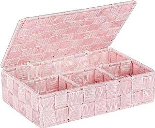 Wenko 22568100 Adria petit Panier de salle de Bain avec Couvercle PP Rose 26 x 17 x 7,5 cm