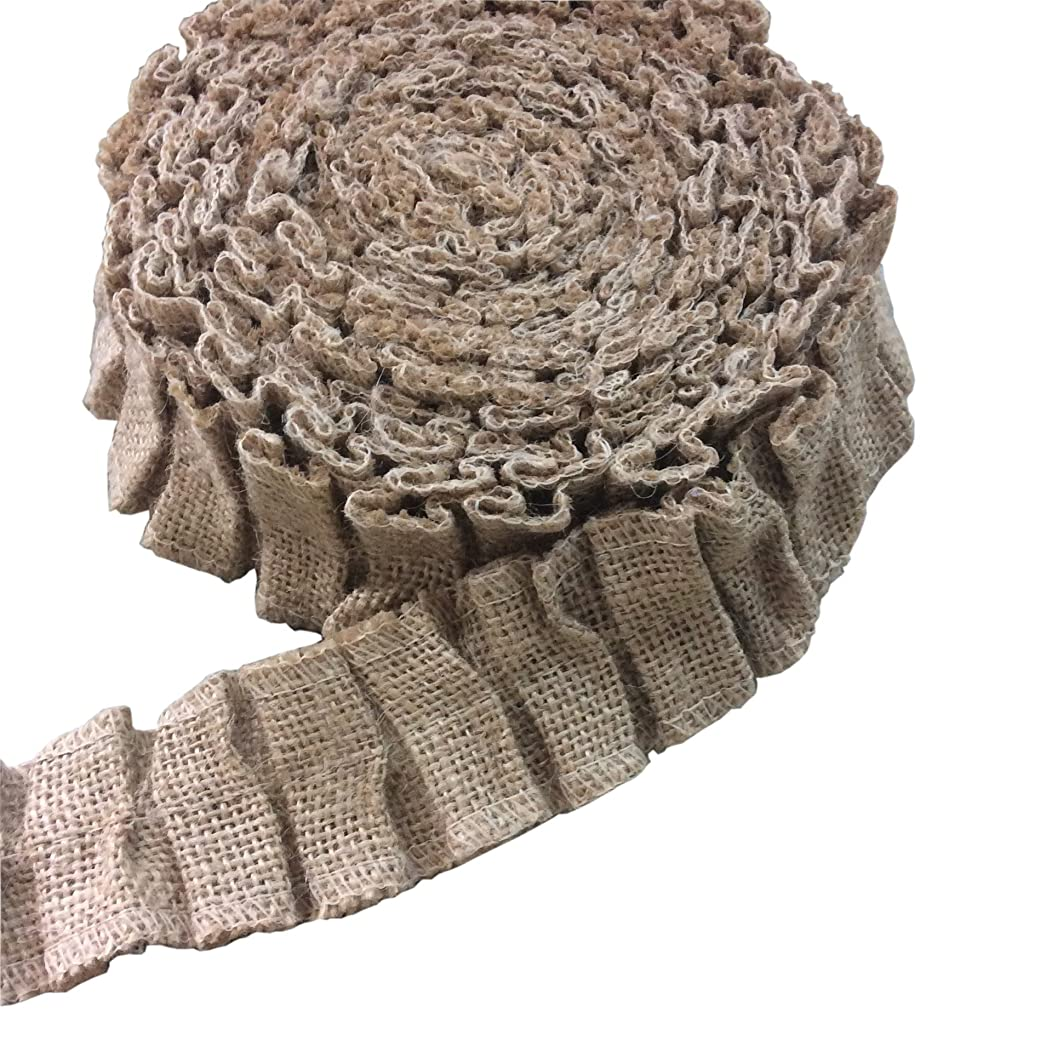 Roll over image to zoom in Beautifully Ruffled Rolls of Burlap Curling Ribbon 5 Yard X 1.5 Inch for Tables Chairs Baskets Packaging