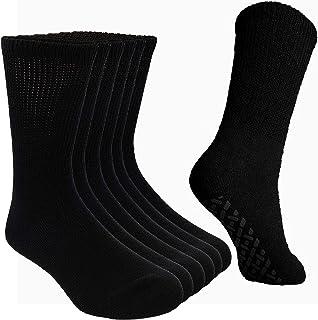Debra Weitzner Non-Binding Loose Fit Sock - Non-Slip Diabetic Socks for Men and Women - Crew 6Pk Black