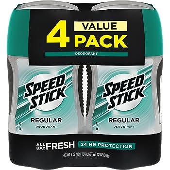 Speed Stick Deodorant for Men, Aluminum Free, Regular - 3 Ounce (4 Pack)